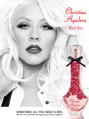 Christina Aguilera Red Sin perfume celebrity ads