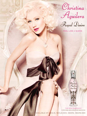 Christina Aguilera Royal Desire perfume celebrity endorsement adverts