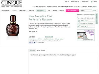 Clinique Aromatics Elixir Perfumers Reserve Fragrances Perfumes