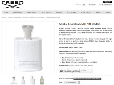 Perfume Silver Mountain Creed Silver Mountain Water