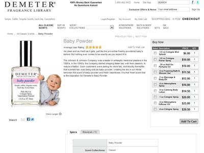Demeter Baby Powder Fragrances Perfumes Colognes