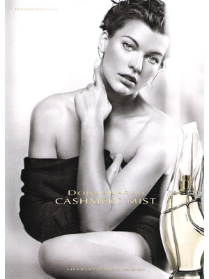 Milla Jovovich Donna Karan Cashmere Mist perfume celebrity endorsement adverts
