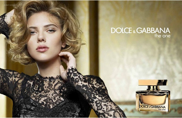 Scarlett Johansson Dolce & Gabbana The One perfume celebrity endorsement