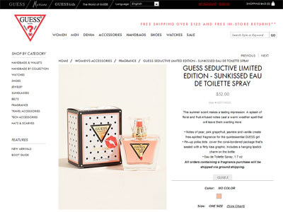 Guess Seductive Sunkissed Fragrances Perfumes Colognes Parfums