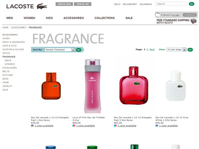 Eau de Lacoste L.12.12 Rouge / Red website