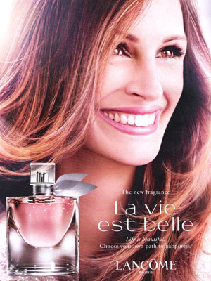 Julia Roberts Lancome La Vie Est Belle perfume celebrity endorsement adverts
