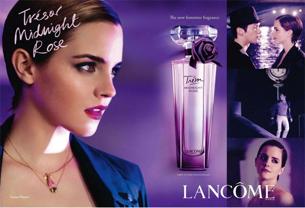 Emma Watson Lancome Tresor Midnight Rose perfume celebrity endorsement