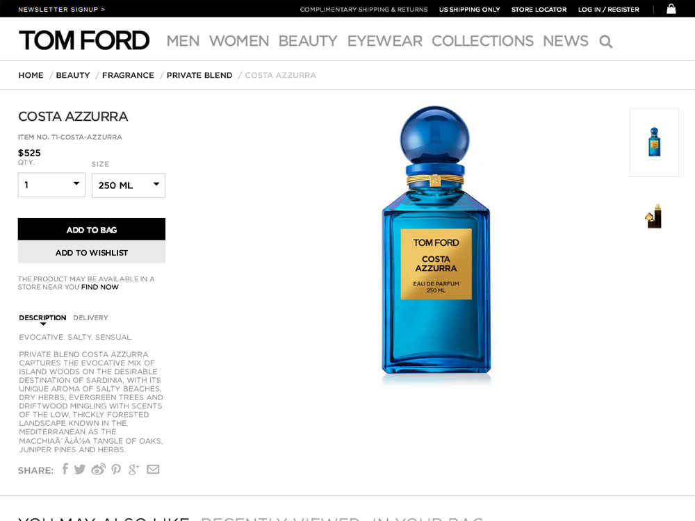 tom ford costa azzurra perfume woody aromatic fragrance. Black Bedroom Furniture Sets. Home Design Ideas