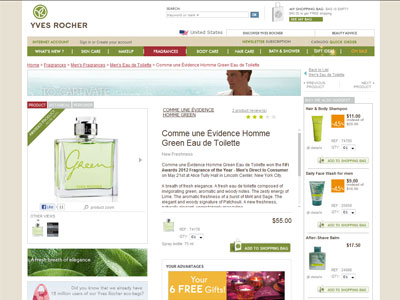 Yves Rocher Comme Une Evidence Homme Green Fresh Woody Aromatic