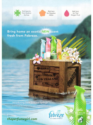 New Zealand Springs Febreze fragrances