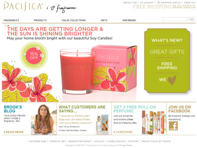 Pacifica Holiday Collection website