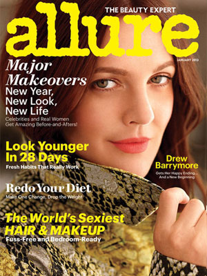 Drew Barrymore, Allure Magazine, January 2013