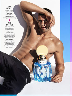 Miu Miu L'Eau Bleue Perfume editorial Cosmo Models + Bottles