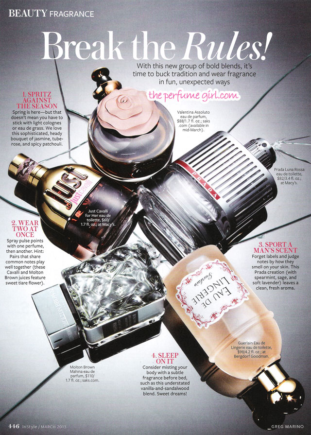 Break the Perfume Rules, InStyle magazine March 2013