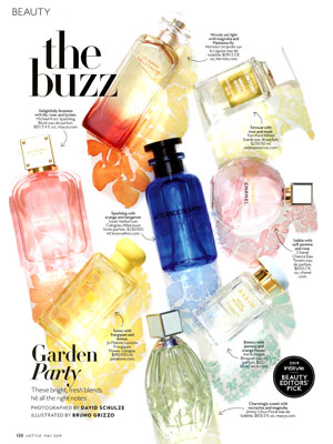 Louis Vuitton Les Parfums Afternoon Swim, Cactus Garden, Sun Song Perfume editorial InStyle Garden Party